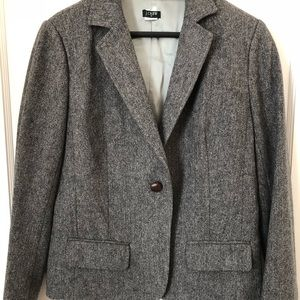 J Crew Gray Herringbone Wool Blazer Jacket, 10